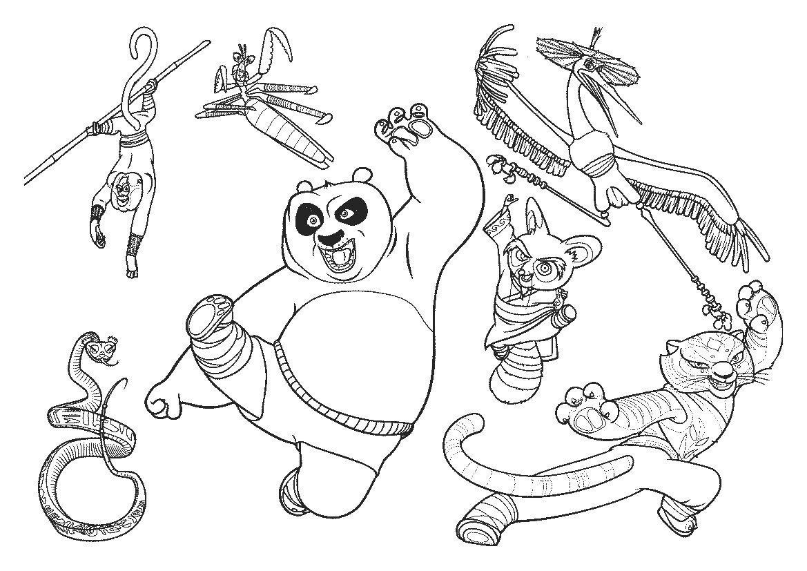 Excelente Kung Fu Panda Colorear Páginas Grúa Molde - Dibujos Para ...