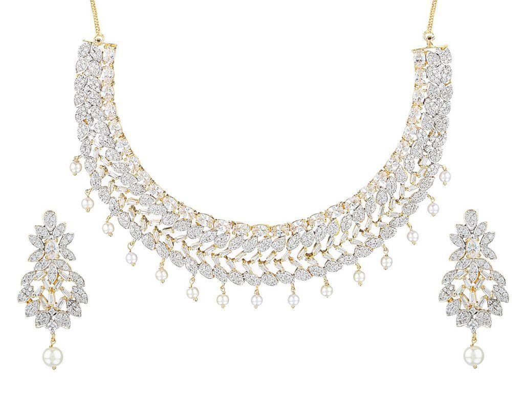 Swasti Jewels CZ Zircon Indian Fashion Jewelry Set Necklace Earrings