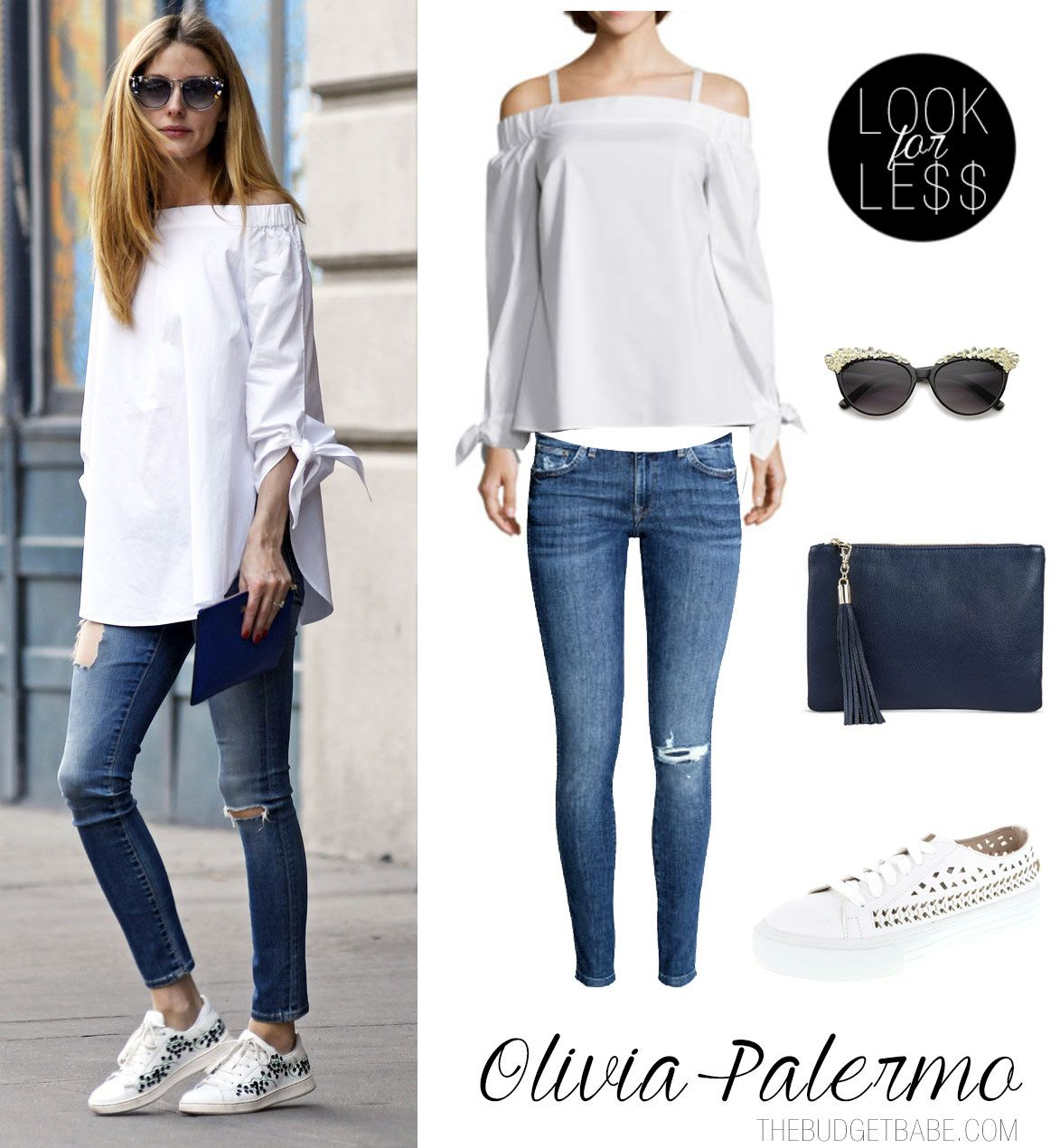 68b040ceb46e1 Olivia Palermo s Off-the-Shoulder Top and White Sneakers Look for ...