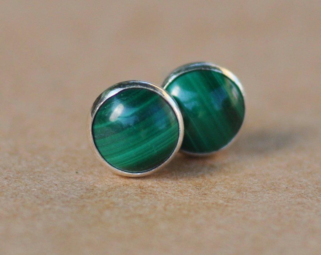 c1a51b942 Green Malachite Earrings with Sterling Silver Studs. 6mm Cabochon Gemstones