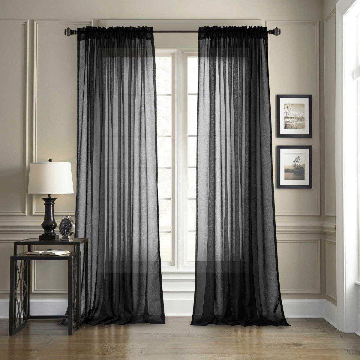 2 Pieces Black Sheer Curtains Voile Window Curtain Rod Pocket