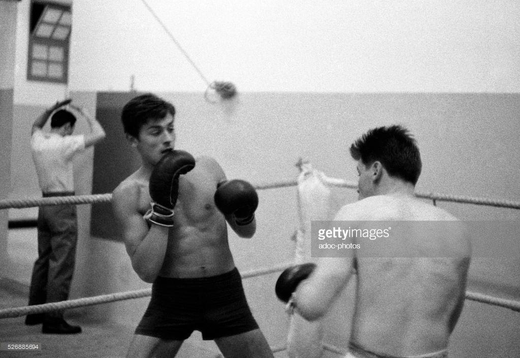 Alain Delon 1935 During A Boxing Training In 1957 Alain Delon Boxing Training Classic Movie Stars
