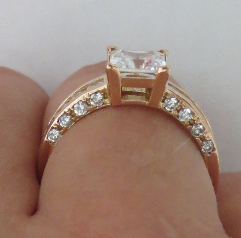 14k Solid Rose Gold Princess Cut Man Made Diamond Solitaire