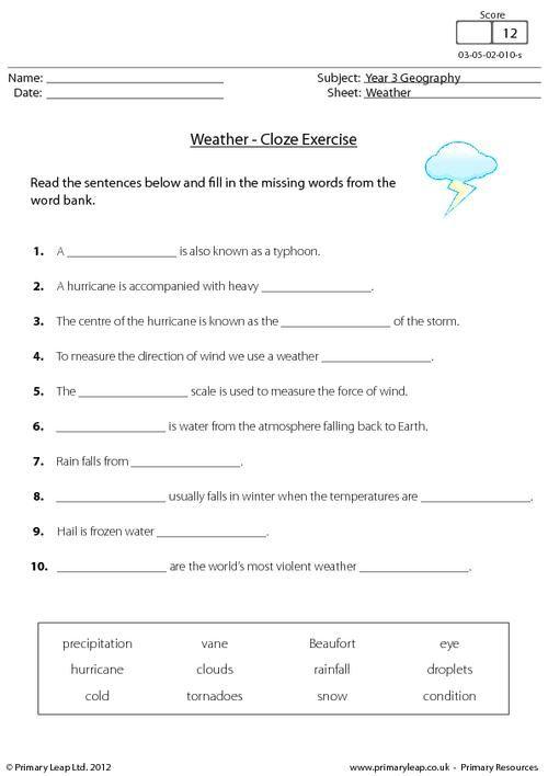 Primaryleap Co Uk Weather Cloze Activity Worksheet Cloze
