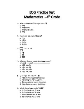 Math EOG Practice Test - 4th Grade in 2019 | Products | Math