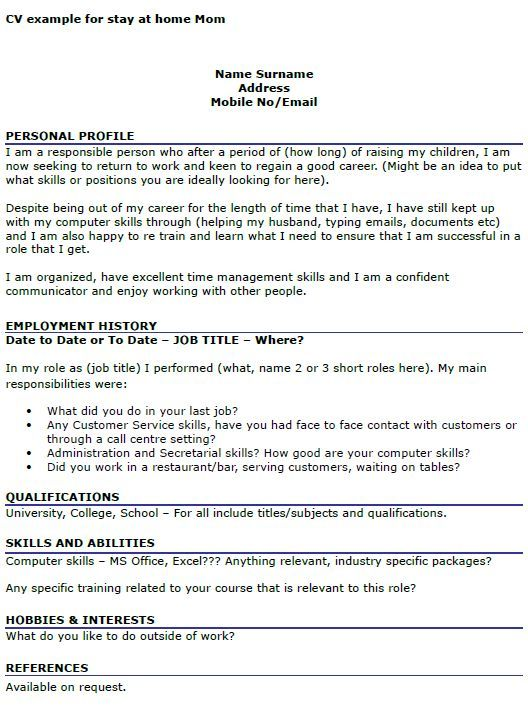 cv example for stay at home mom  icoveruk  cv