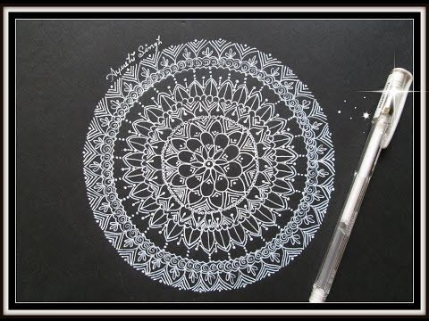 Easy Mandala design on black paper !! - YouTube | Mandala | Simple