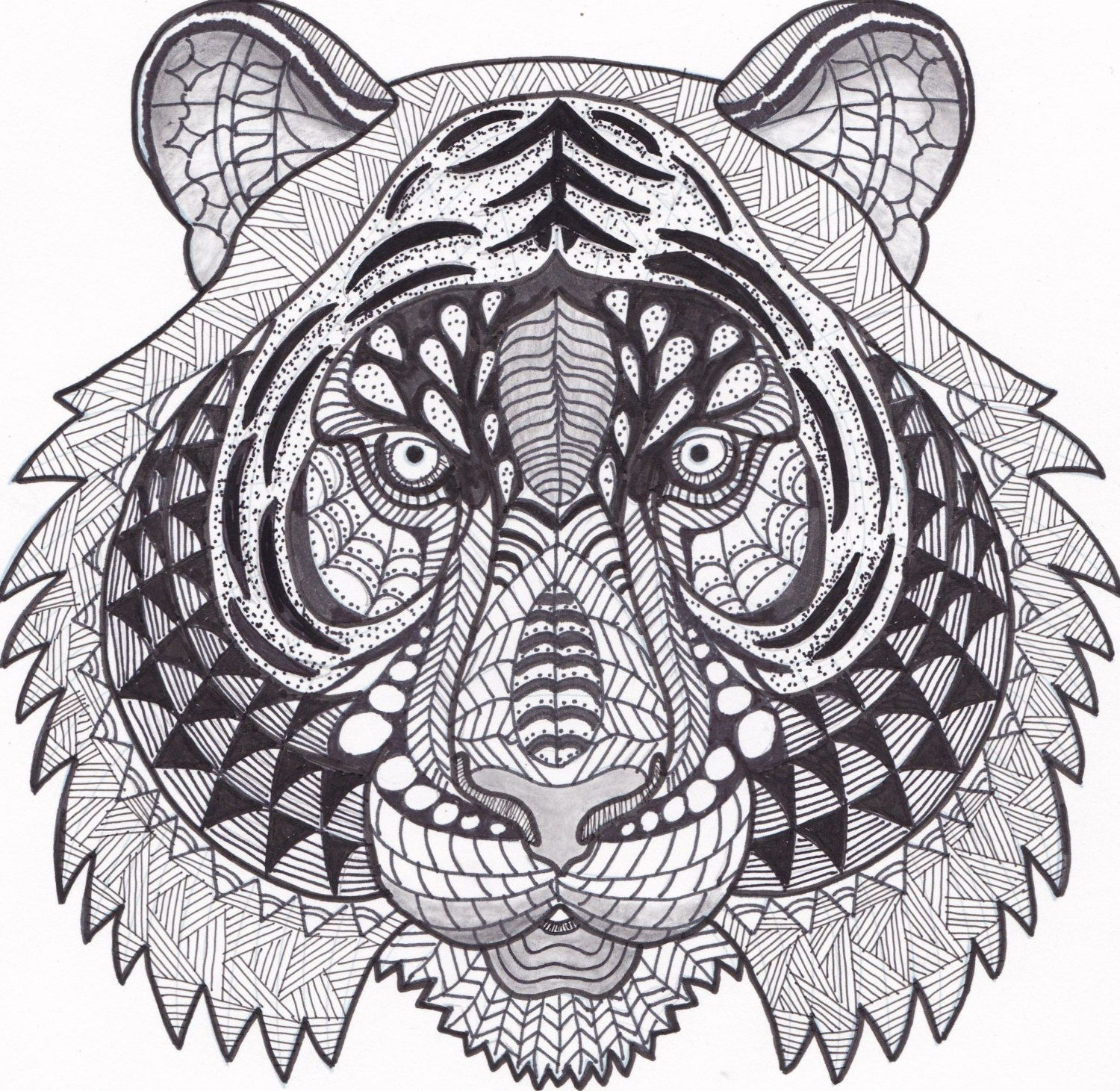 Tiger Zentangle Coloring Page By Inspirationbyvicki On Etsy
