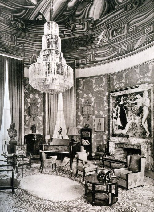 1925 interior of the grand salon of the arts decoratifs expo art deco furniture art deco. Black Bedroom Furniture Sets. Home Design Ideas