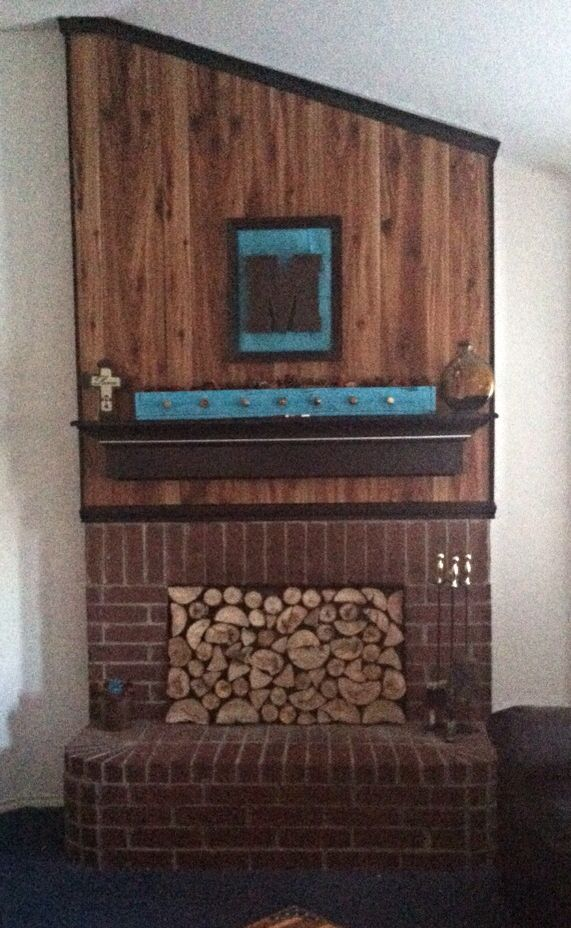 Fireplace Cover When It S Not In Use Just Used Firewood Osb Board And Wood Glue I Had All On Hand Cos Wooden Fireplace Simple Fireplace Rustic Fireplaces
