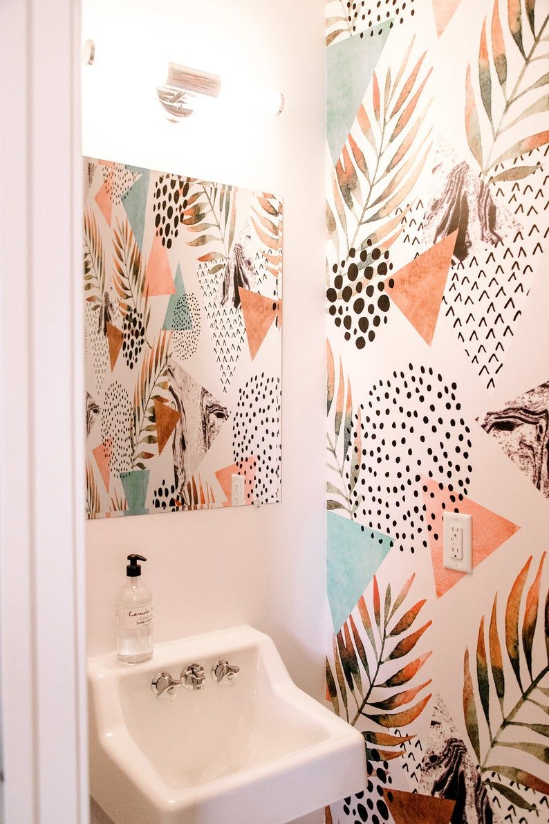 Abstract Palm Leaf Wallpaper Pastel Colors Peel And Stick Wallpaper Removable Wallpaper Temporary Wall Mural 18 Palm Leaf Wallpaper Removable Wallpaper Bathroom Leaf Wallpaper
