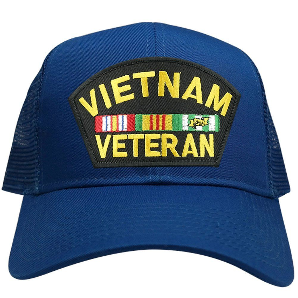 Military Vietnam Veteran Large Embroidered Iron on Patch Adjustable Mesh  Trucker Cap - ROYAL -- 624944f97