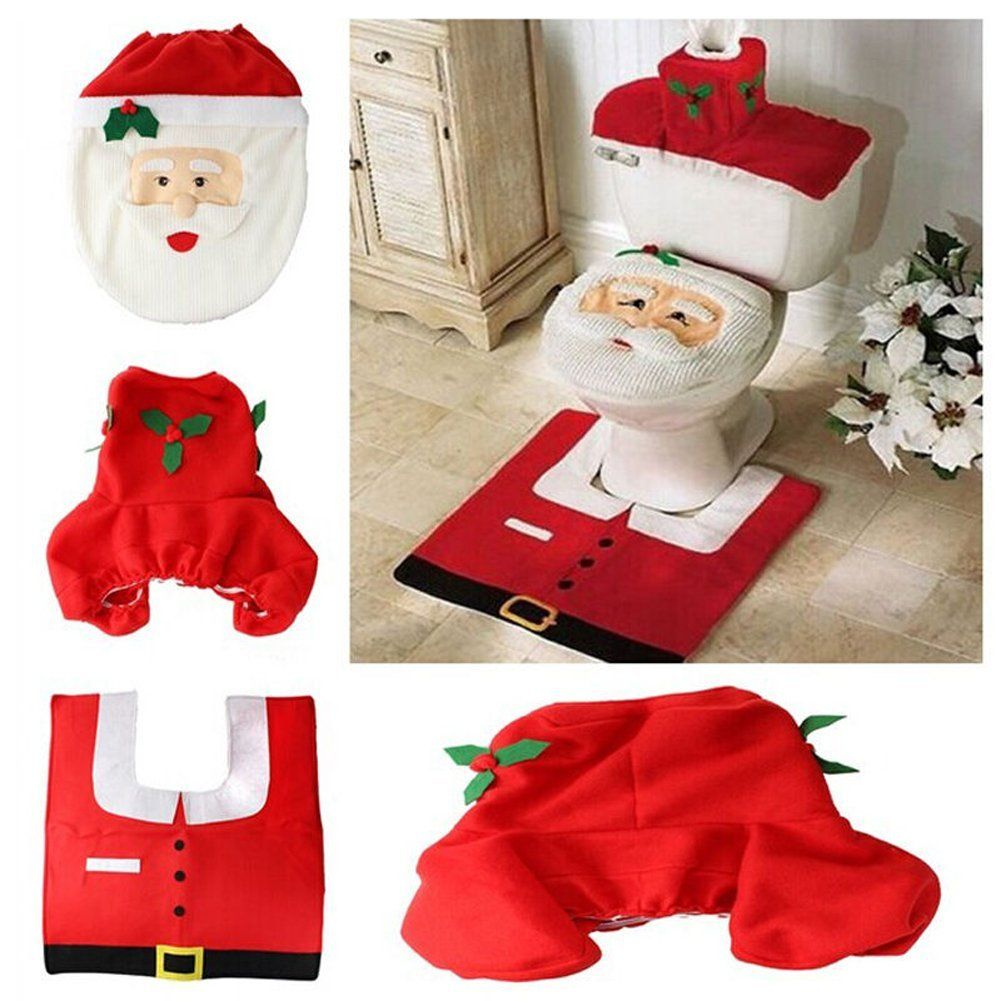 New Christmas Decorations Happy Santa Toilet Seat Cover Rug Bathroom Set