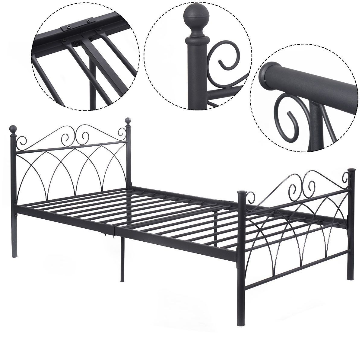 "78"" x 42"" x 34"" Black Steel Twin Size Bed Frame Twin"
