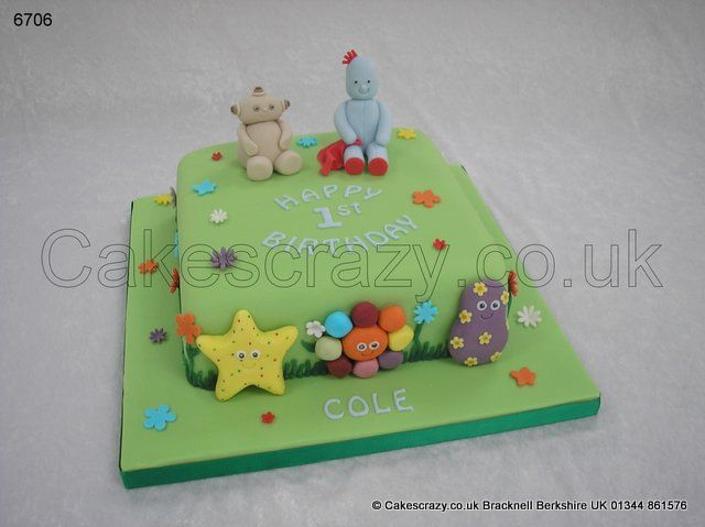 Iggle Piggle Cake In The Night Garden Cake With Iggle Piggle And Makka Pakka Modelled Characters And Not F Little Girl Cakes Twins 1st Birthdays Garden Cakes