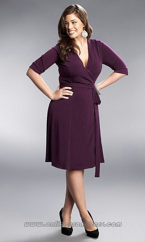 393aa1e6077 V Neck Chiffon Knee Length Purple Modest Black Tie Plus Size Prom Dress  (like the v-neck)