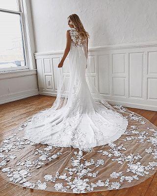 wunderschöne brautkleider bodenlang  spitzen hochzeitskleider mit schleppe  wedding dresses