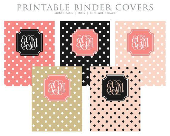 Instant Download Printable Binder Covers Monogram Dots Pink Gold Black Binder Covers Printable Binder Covers Diy Binder Covers