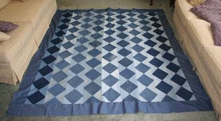 """Blue jean quilt of 6.5"""" light and dark squares, sewn, cut diagonally. (Nancy's Couture)"""