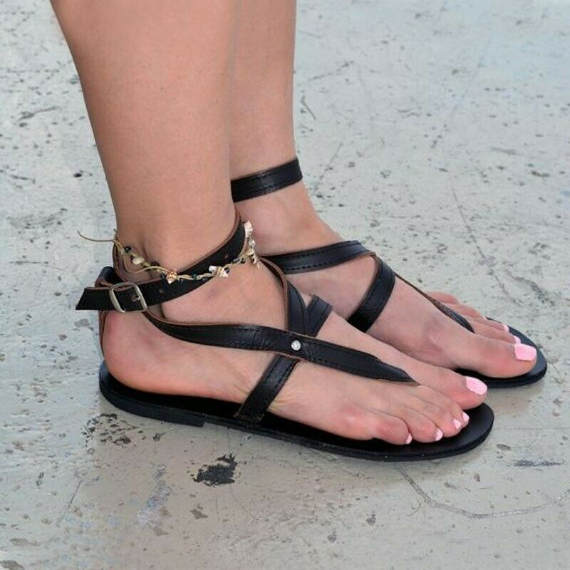 Lace up Open Toe Summer Shoes for Girl Cute Strappy Sandals MVE Shoes Girls Gladiator Flat Sandal