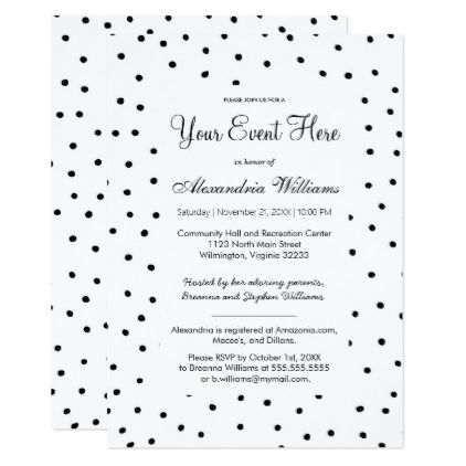Black white watercolor polka dots Invitation Pinterest Wedding