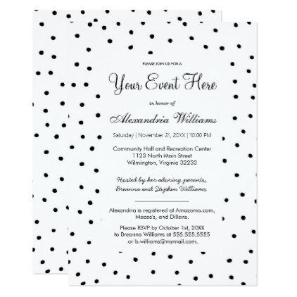 Black white watercolor polka dots Invitation Invitation card