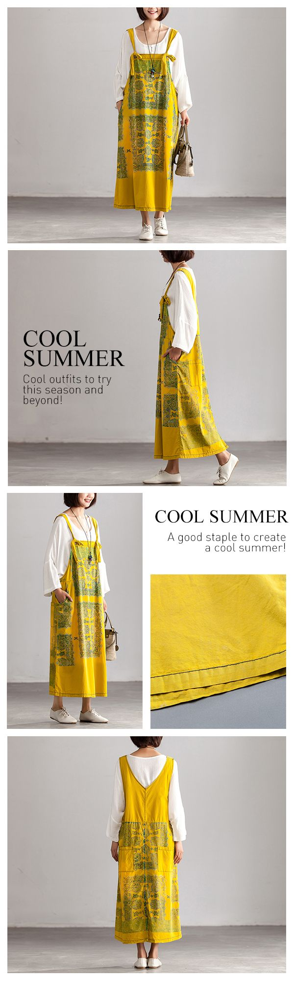Summer floral pockets yellow long strap dress elbise pinterest