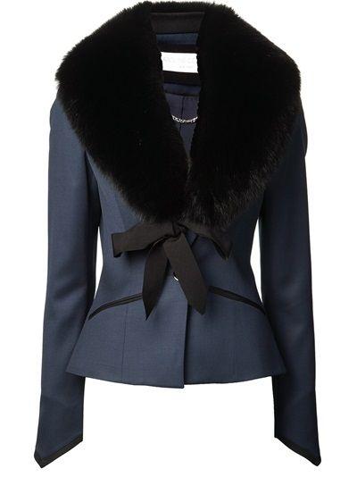 CAROLINE CONSTAS - fox fur lapel blazer 8