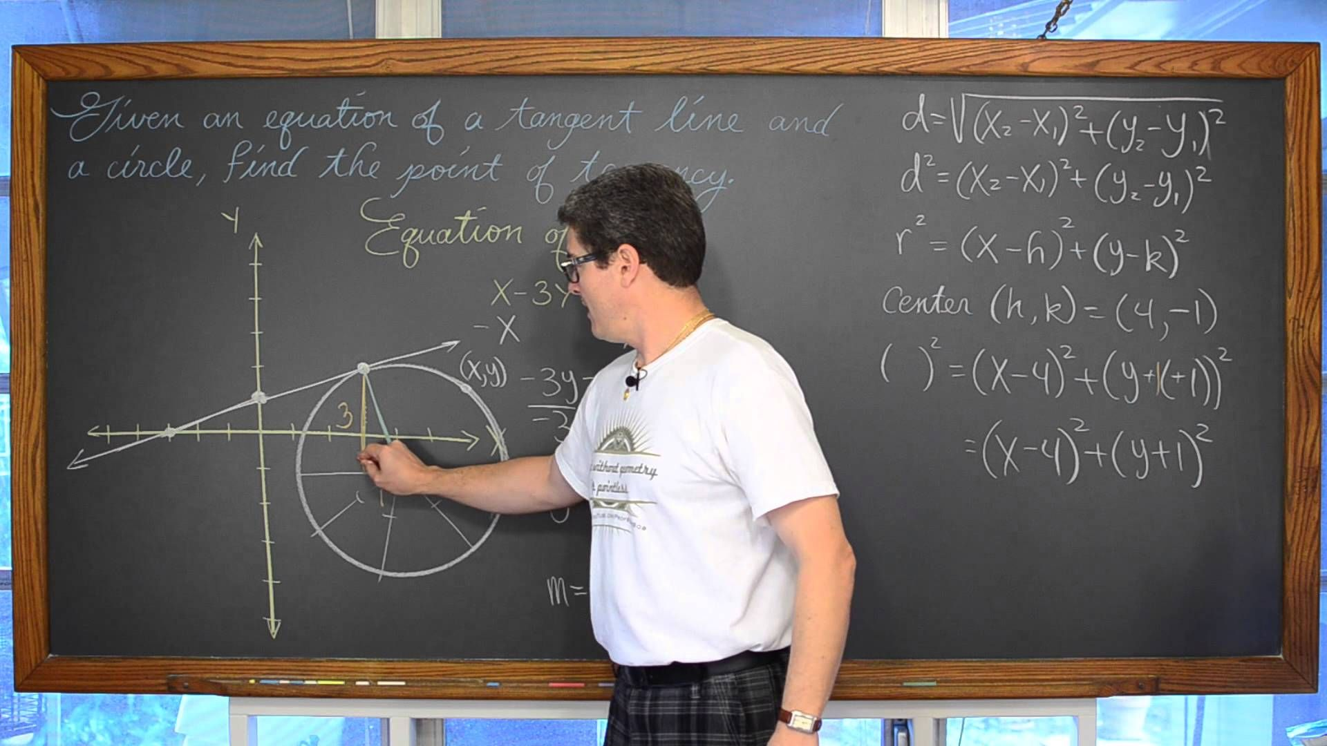 Given A Tangent Line Amp Circle Find The Point Of Tangency