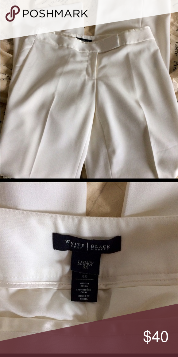 NWOT Cream Legacy Trouser Pants 8R Gorgeous winter white/cream fully lined pants. Modern boot cut. Shell= 79% polyester, 19% rayon, 3% spandex. Lining=100% polyester. Front rise=9.5, inseam = 32. White House Black Market Pants Trousers