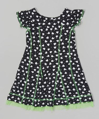 Another great find on #zulily! Green & Black Heart Dress - Toddler & Girls #zulilyfinds