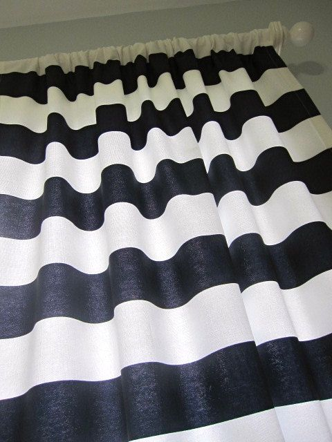 Curtains Ideas black and white striped curtains horizontal : Navy And White Curtain Panels - Rooms