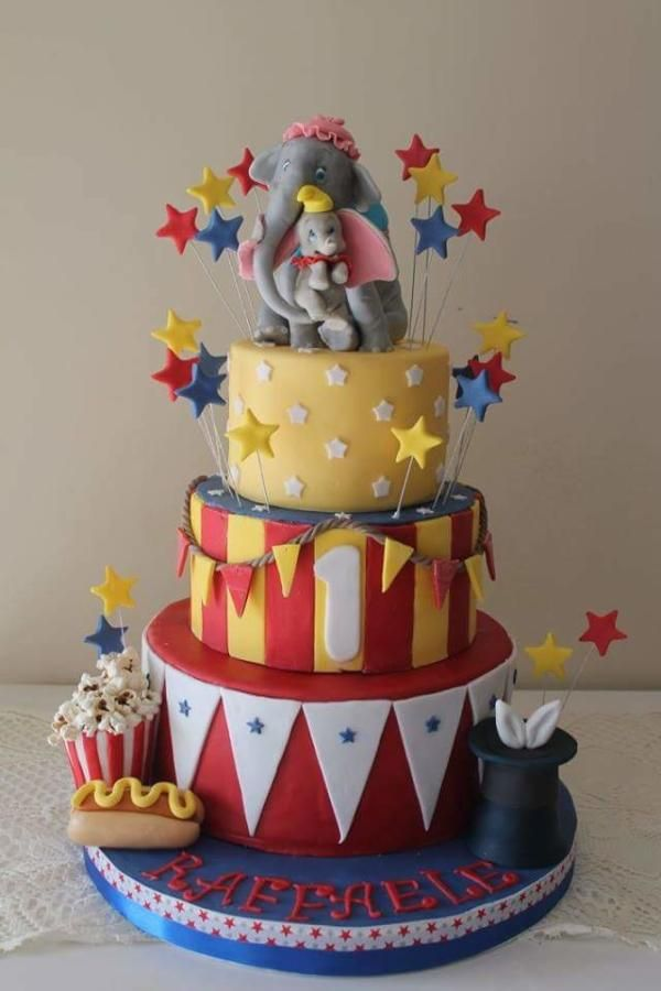 Enjoyable Love Dumbo And His Mum Cake By Elena Michelizzi Circus Birthday Cards Printable Trancafe Filternl