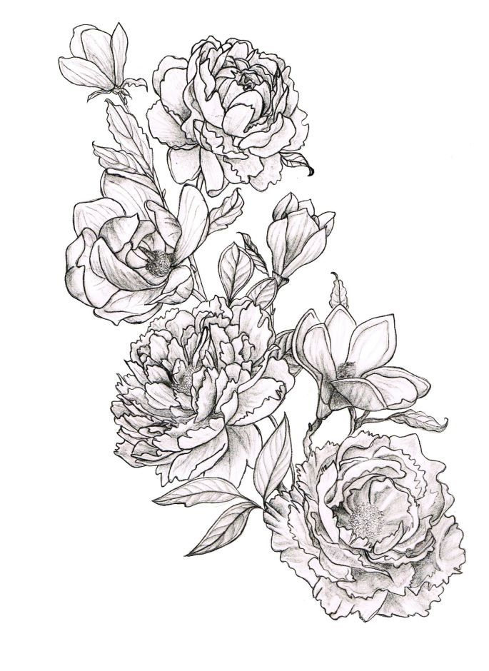 Black Line Drawing Tattoo : Peonies and magnolias tattoos pinterest
