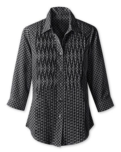 Pleat detail no-iron shirt   Coldwater Creek