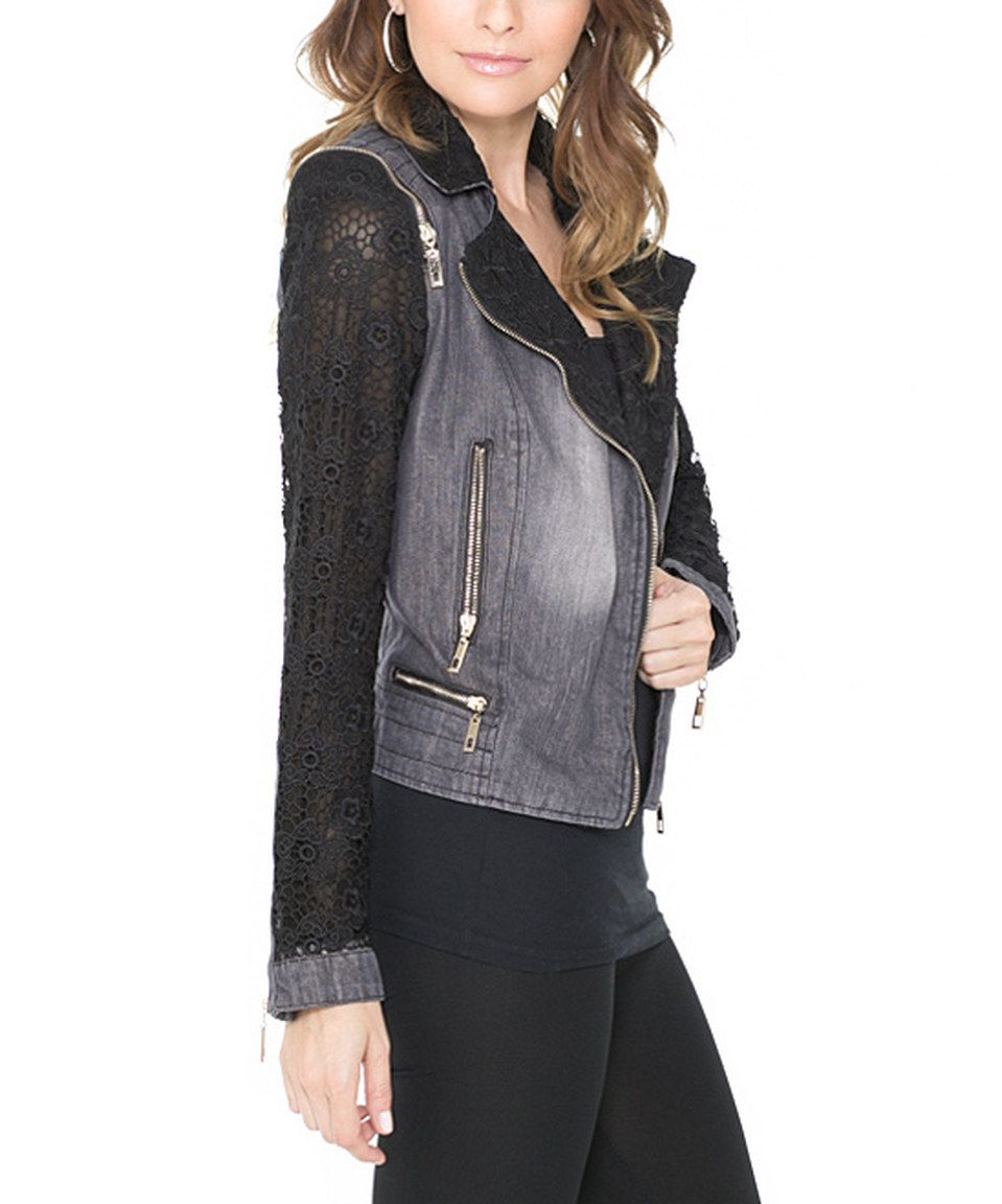 Look what I found on #zulily! Gray Denim Lace-Sleeve Jacket by Adore #zulilyfinds