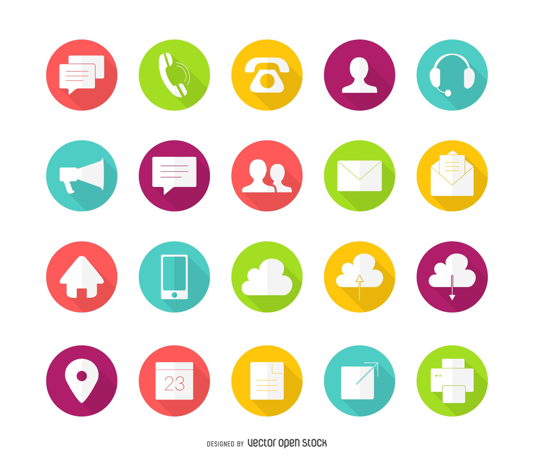 Set of colorful contact icons with long shadows. Design
