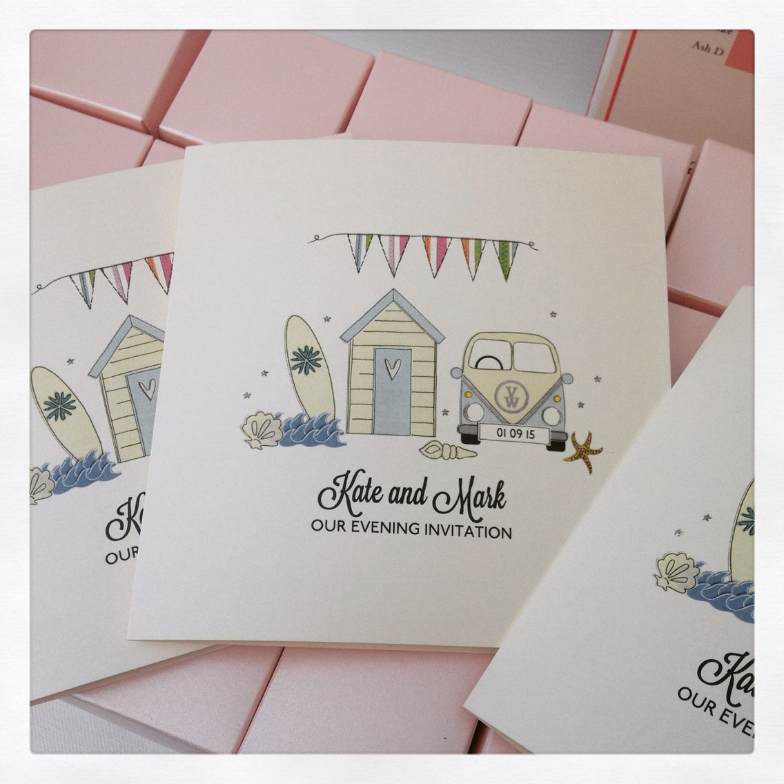 Campervan, surfing beach hut themed wedding invitations - perfect ...