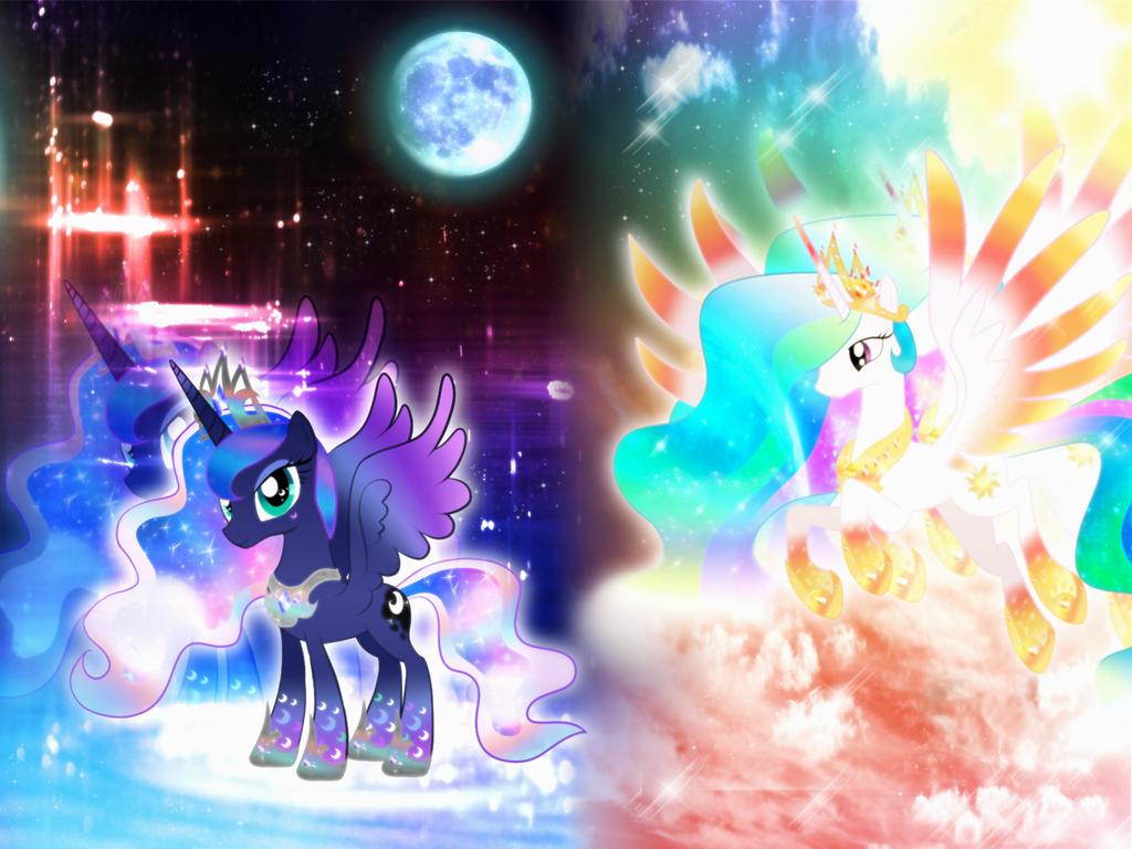 princess luna and celestia rainbowfied wallpaper by