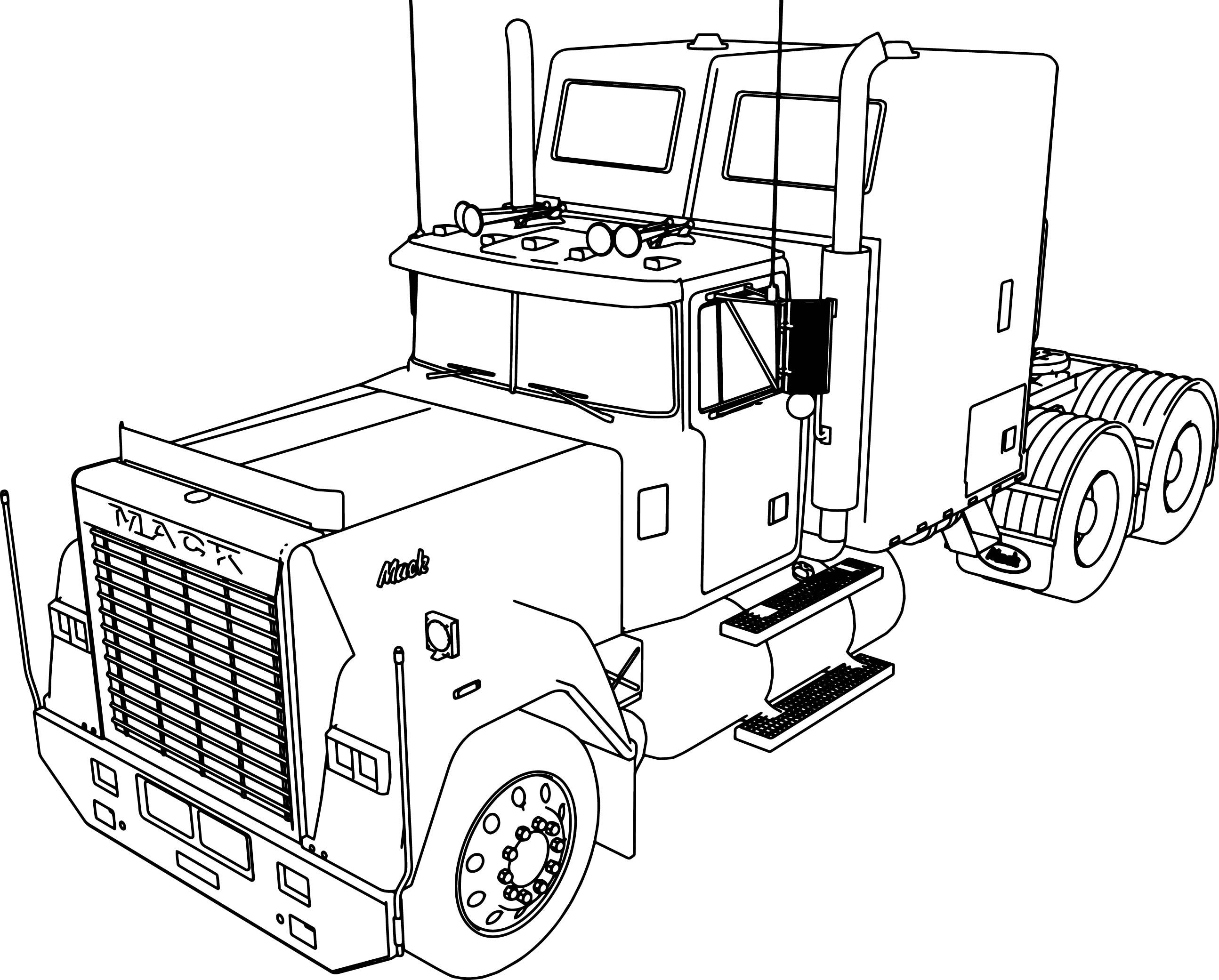 Awesome Mack Superliner Long Trailer Truck Coloring Page