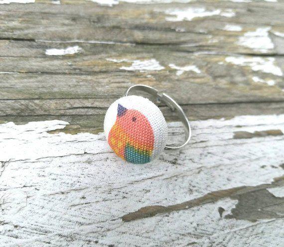 Bird Fabric Button Ring - Statement Ring - 5/8