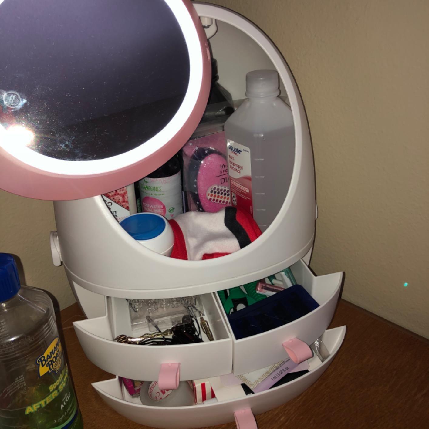 Led Hd Mirror Makeup Storage Box Cosmetic Organizer Case Planet