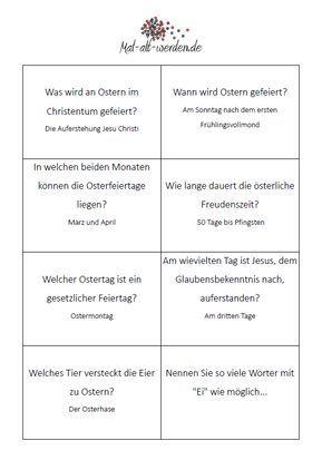 Das große Oster-Quiz. 50 kostenlose Rätselkarten zum ...
