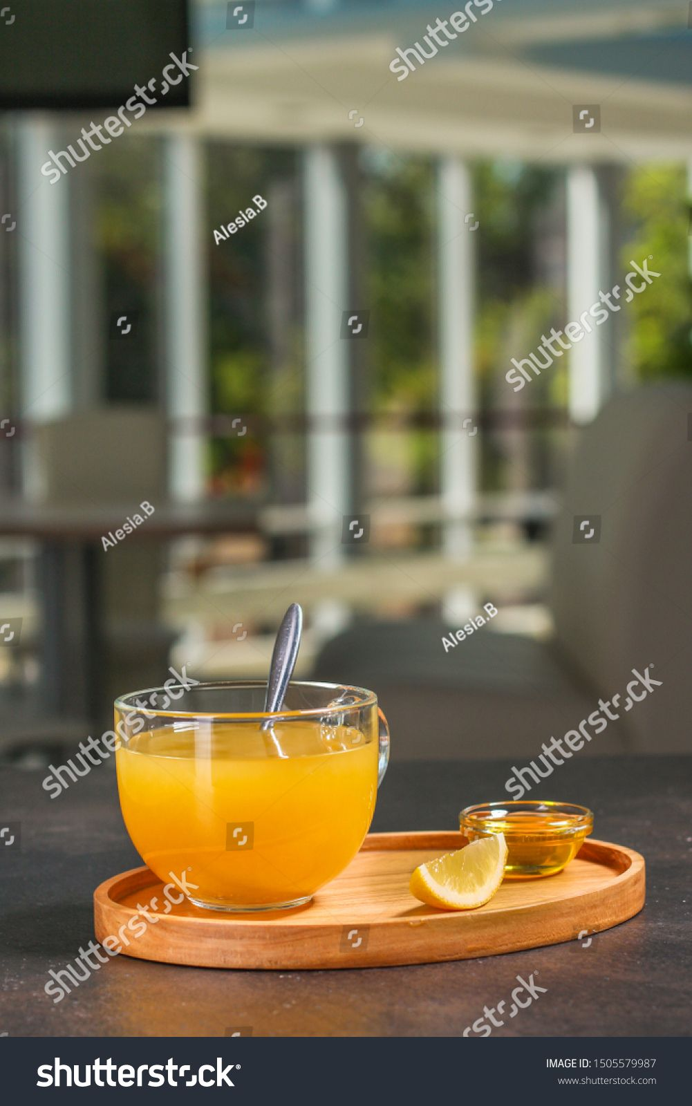 tea, honey, lemon and sea buckthorn (aromatic mustard drink in a cafe restaurant) menu concept. food background. copy space. Top view #Sponsored , #Ad, #mustard#aromatic#cafe#drink