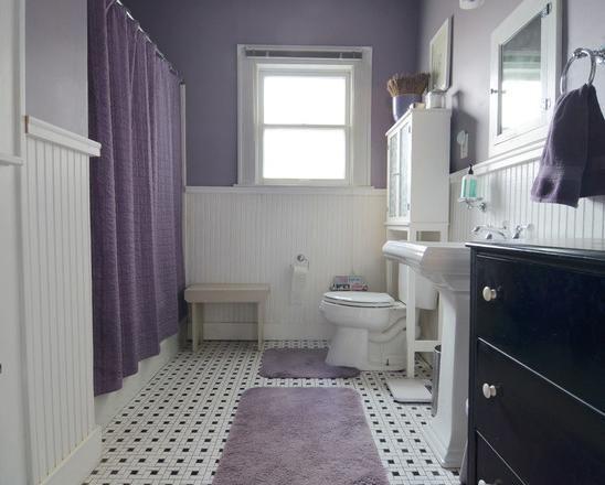 Tile Bathroom Bathroom Black White Floor Tiles With Purple Theme