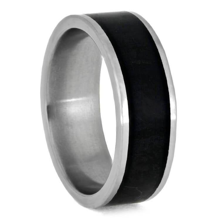 Photo of Black Jade Wedding Band, Matte Titanium Ring, Stone Jewelry-3646