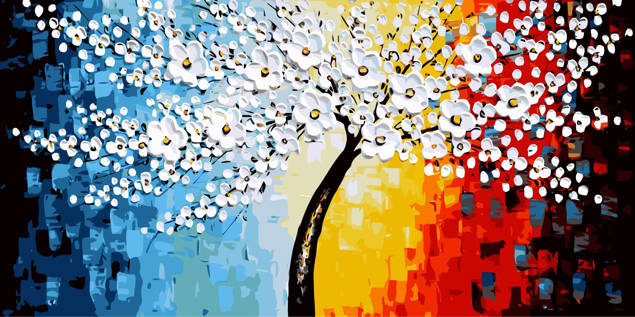 Flowers Paint By Number Kit Large Diy Painting Tree Abstract Picture On Canvas Paint Coloring By Number Diy Painting Gift 50 100cm Diy Tree Painting Paint By Number Abstract Pictures