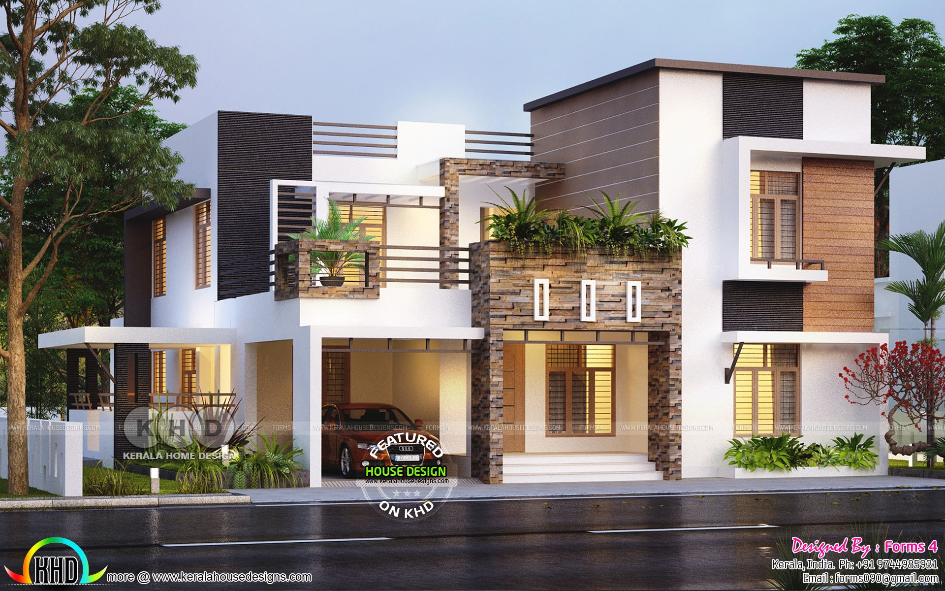 Beautiful contemporary style residence 32 lakhs arch - Modern exterior house designs india ...