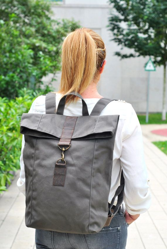 gray canvas backpack with leather unisex mens bag women bag note book bag water resistant. Black Bedroom Furniture Sets. Home Design Ideas