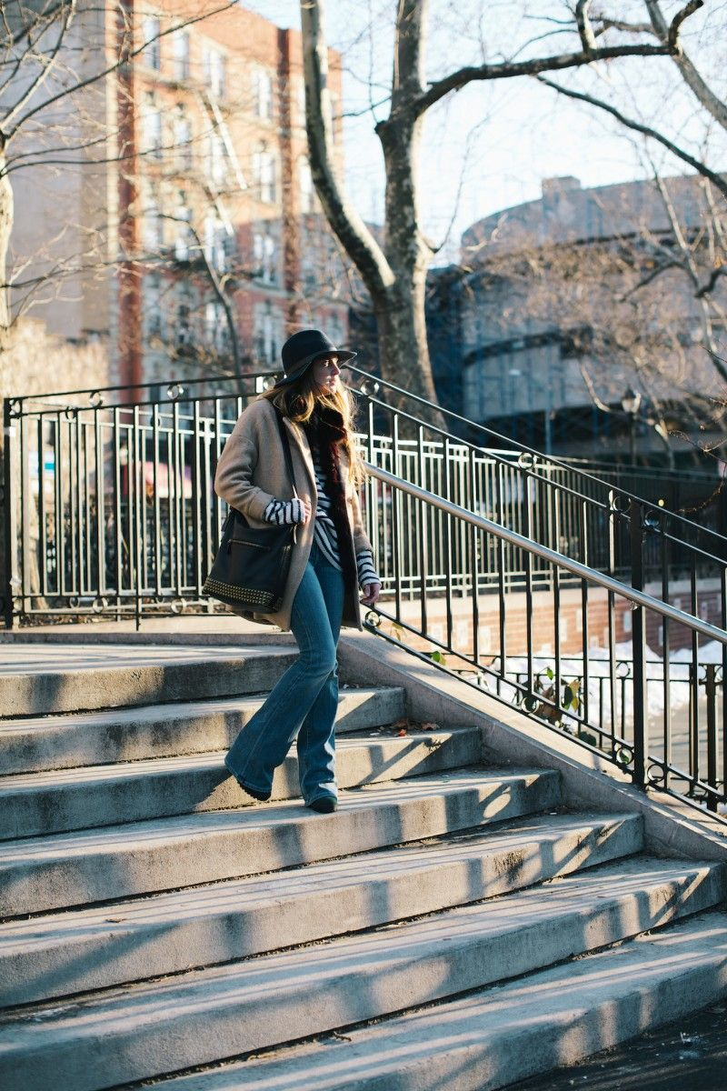 New York City Fashion and Lifestyle blog: Winter layering, felt hat, camel coat, striped sweater, denim flares, black Coach bucket duffle.